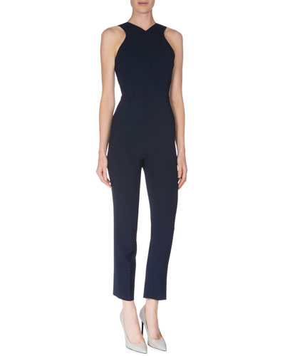 Capsule Collection Seamed Stretch-Crepe Halter Jumpsuit, Navy