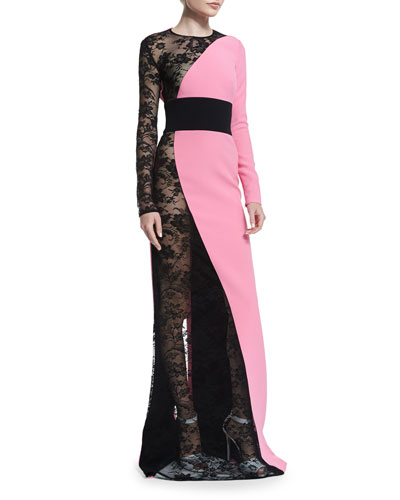 Long-Sleeve Lace-Crepe Combo Gown, Pink