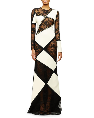 Long-Sleeve Patchwork Lace Gown, Black/White