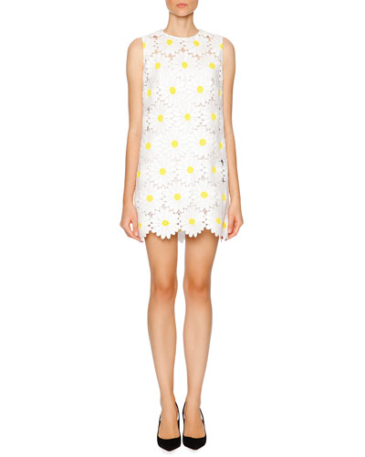 Daisy Macrame Shift Dress, White