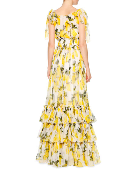 Lemon Print Silk Chiffon Maxi Dress White Yellow