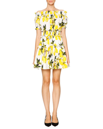 Lemon-Print Off-the-Shoulder Dress, White/Yellow