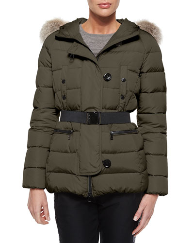 Genette Belted Puffer Jacket with Fur Hood