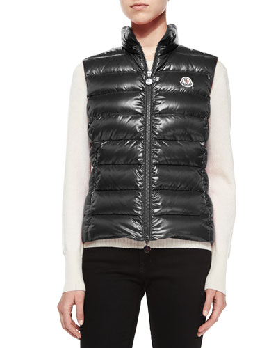 Ghany Shiny Quilted Puffer Vest, Charcoal