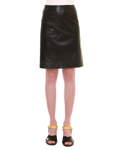 A-line Leather Skirt, Black