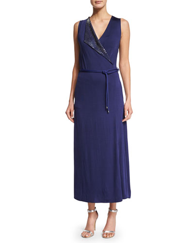 Sleeveless Surplice Jersey Midi Dress, Deep Blue
