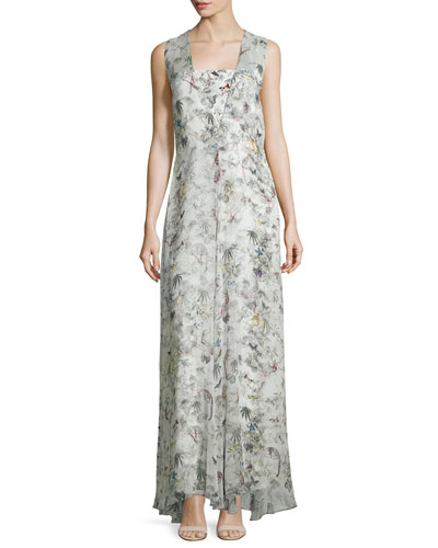 Sleeveless Floral-Print Silk Gown, White Pattern