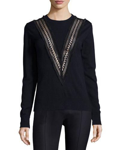 Mixed-Stitch Merino Wool Sweater, Navy/Black