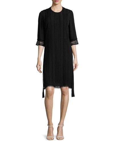 Embroidered 3/4-Sleeve Karate Dress, Black