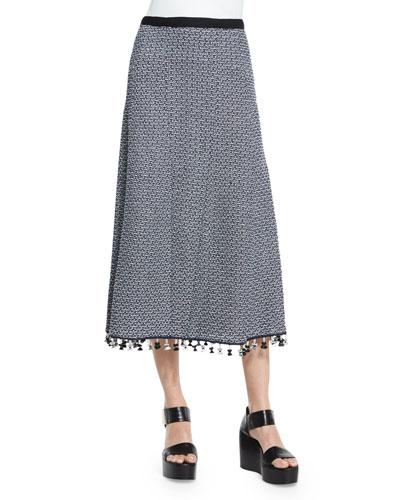 A-Line Crochet Skirt W/Fringe Hem, Navy/White