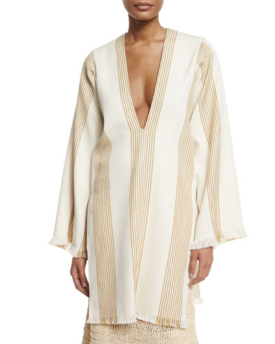 Long-Sleeve Striped Canvas Tunic, Straw/Natural
