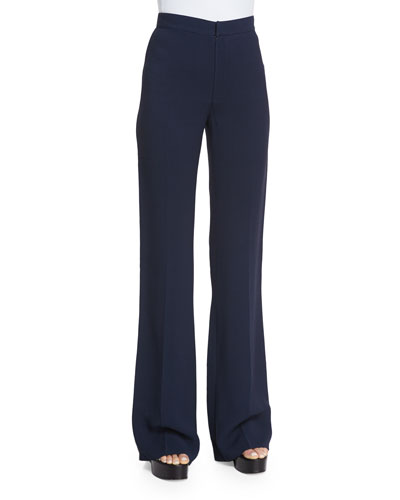 Georgia Flare-Leg Pants, Navy