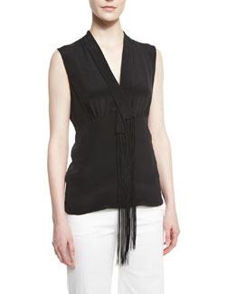 Fringed V-Neck Sleeveless Silk Blouse, Navy