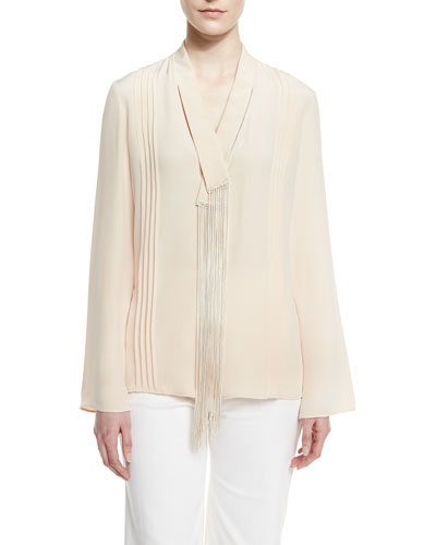 Fringed V-Neck Crepe Popover Blouse, Pale Shell