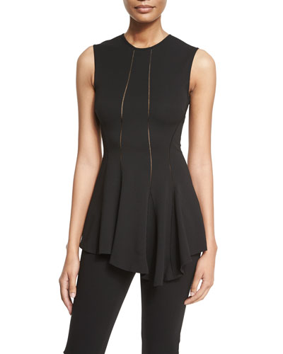 Sleeveless Asymmetric Ruffle-Hem Top, Back