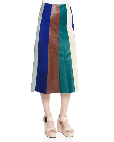 Striped Patchwork Leather Skirt, Multi