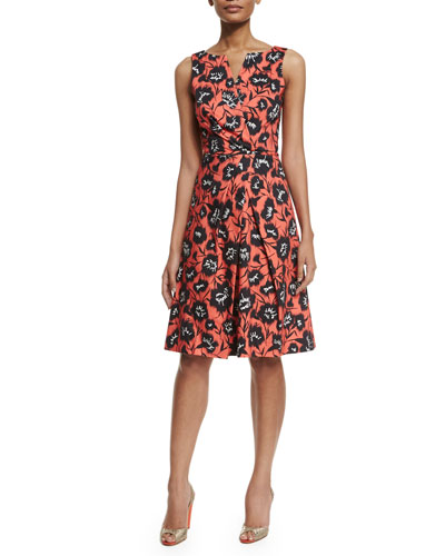Floral-Print Faux-Wrap A-Line Dress, Black/White/Coral