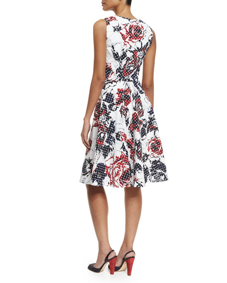 Dotted Rose-Print Sleeveless A-Line Dress, Red/Navy/White