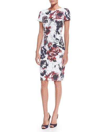 Rose & Dot-Print Sheath Dress, Red/Navy/White