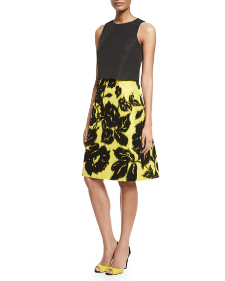 Sleeveless Tromp L'oeil Dress w/ Contrast Skirt, Black/Yellow
