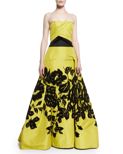 Flocked Silk Faille Ruched Ball Gown, Black/Yellow