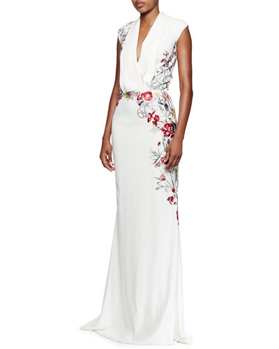 Floral-Embroidered Pleated V-Neck Gown, White/Multi