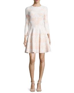 Bracelet-Sleeve Floral-Print Fit & Flare Dress, White/Nude