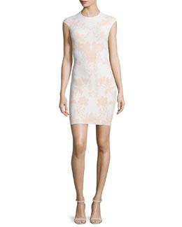 Floral Jacquard Cap-Sleeve Dress, White/Nude