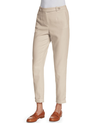 Jari Slim-Leg Cuffed Pants, Oats