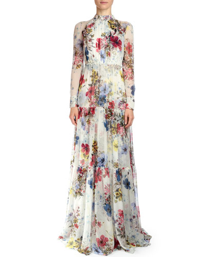 Denise Floral-Print Silk Voile Gown