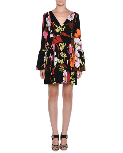 Long-Sleeve Floral-Print V-Neck Dress