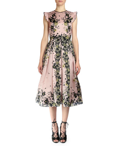 Haleigh Floral-Print Silk Gazar Dress
