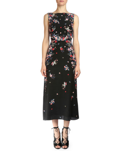 Juno Gloria Garden Silk Midi Dress, Pink Multi