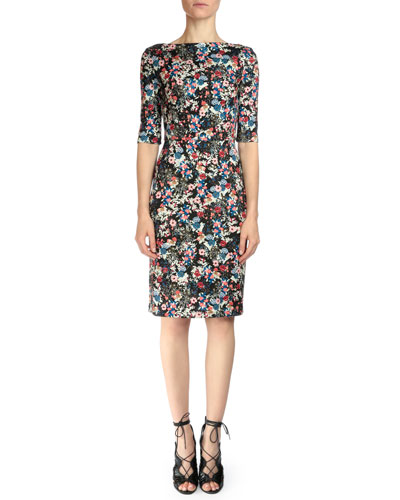 Kirstin Floral-Print Sheath Dress, Pink Multi