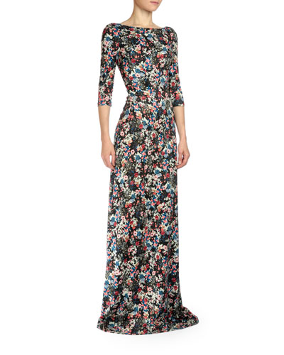 Valentina Floral-Print Three-Quarter-Sleeve Gown
