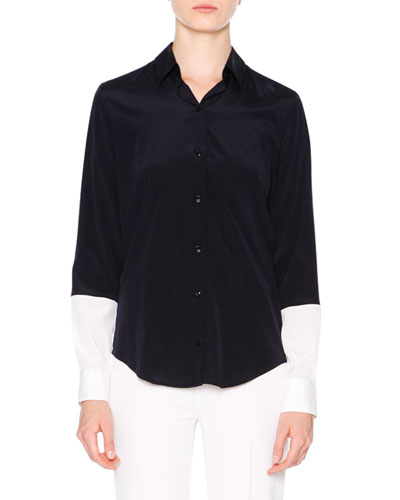 Colorblock Button-Down Shirt, Navy/White