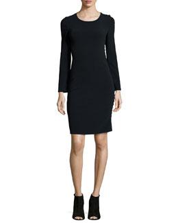 Filipa Long-Sleeve Button-Side Sheath Dress