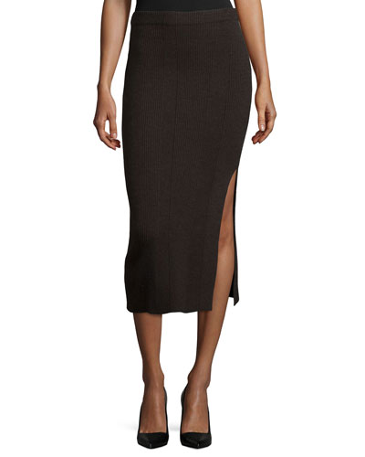 Ribbed Side-Slit Midi Skirt, Dark Oak