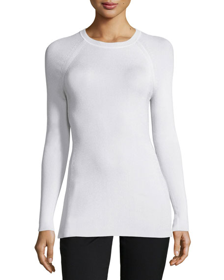 Ribbed Raglan-Sleeve Crewneck Sweater, Chalk