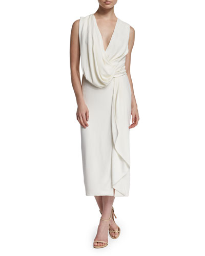Drape-Front Sleeveless Crepe Midi Dress, Chalk
