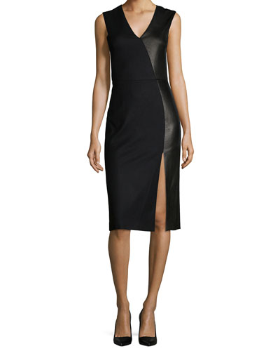 Sleeveless Leather/Wool Paneled Sheath Dress, Black