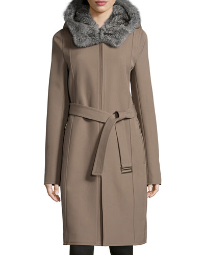 Wool-Twill Coat w/ Detachable Fur Hood