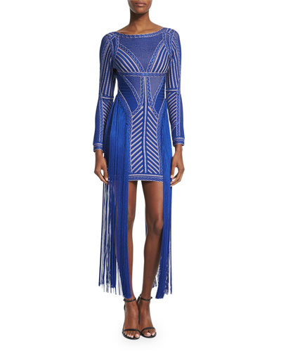 Long-Sleeve Fringed-Waist Bandage Dress, Sapphire Combo
