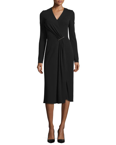 Long-Sleeve Pleated-Drape Dress, Black