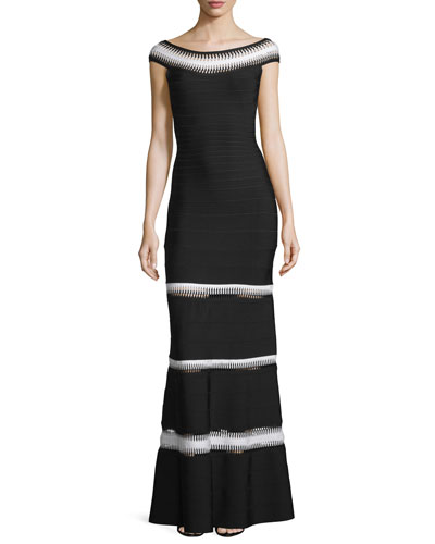 Crocheted Bateau-Neck Bandage Gown, Black
