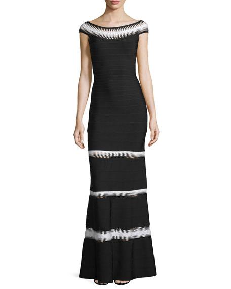 Crocheted Bateau-Neck Bandage Gown, Black