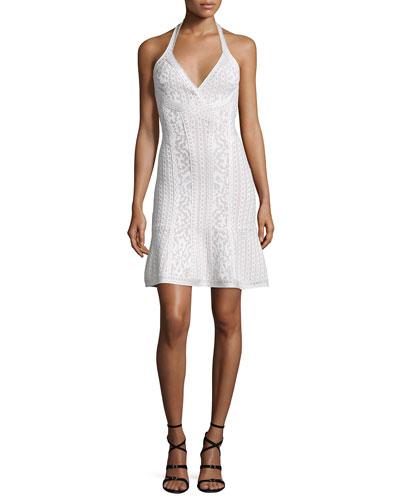 Flared Knit Jacquard Halter Dress, Alabaster Combo