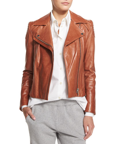 Quilted-Shoulder Leather Moto Jacket, Brick