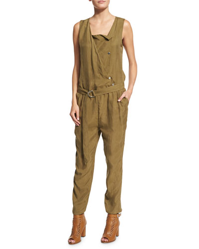 Sleeveless Snap-Front Jumpsuit, Olive