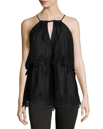 Lace-Trimmed Layered Halter Top